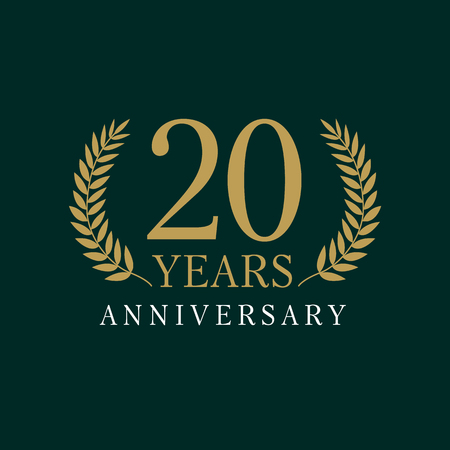 20 years old luxurious logo. Anniversary year of 20 th vector gold colored template framed of palms.