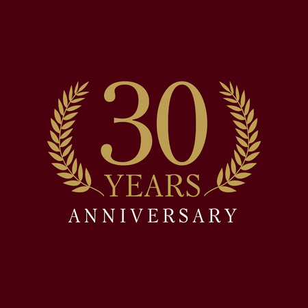 30 years old. Anniversary of the 30th. Greetings ages celebrates. Celebrating laurel branches. 3 rd place symbol of victory and success.