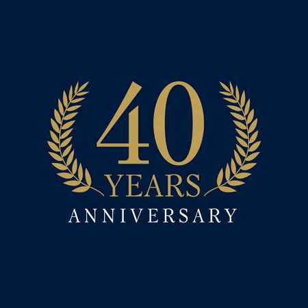 40 years old luxurious logo. Anniversary year of 40 th vector gold colored template framed of palms. Greetings ages celebrates. Celebrating laurel branches. 4 th place symbol of victory and success.