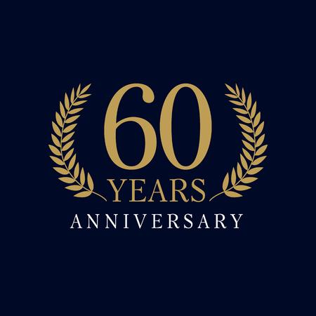 60 歳高級ロゴ。60 周年。ご挨拶年齢を迎えます。伝統枝を祝っています。勝利と成功の 6 の場所シンボル  イラスト・ベクター素材