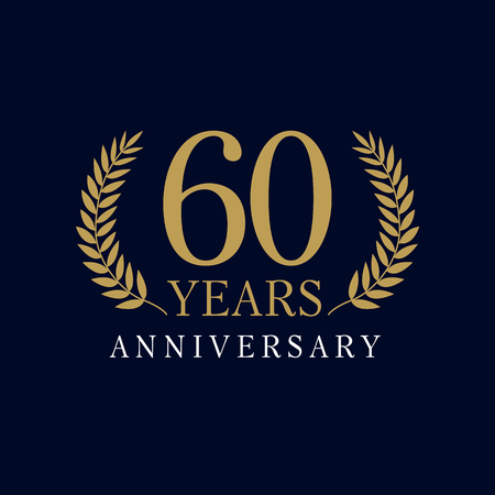 60 years old luxury logo. Anniversary of the 60th. Greetings ages celebrates. Celebrating tradition branches. 6th place symbol of victory and success