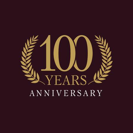 100 歳豪華なロゴ。周年の年に 100 th ベクトル ゴールド色のテンプレートのヤシの木のフレーム。ご挨拶年齢を迎えます。伝統枝を祝っています。勝