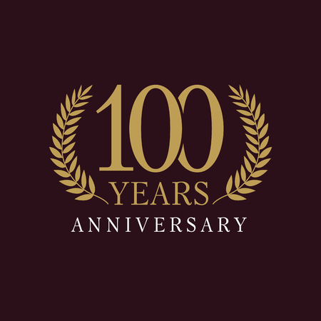 100 years old luxurious logo. Anniversary year of 100 th vector gold colored template framed of palms. Greetings ages celebrates. Celebrating tradition branches. 1st place symbol of victory and win.
