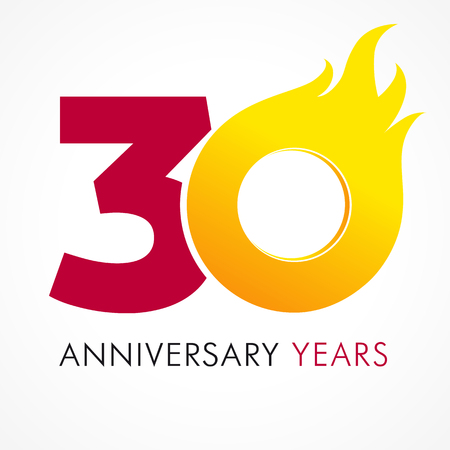 30 years old celebrating fiery logo. Anniversary flamed year of 30 th. Vector template flamy 0 numbers. Happy birthday flaming greetings celebrates. Hot digits of jubilee gold colored ages and flames.