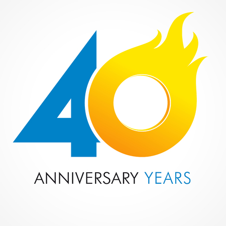 40 years old celebrating fiery logo. Anniversary flamed year of 40 th. Vector template flamy 0 numbers. Happy birthday flaming greetings celebrates. Hot digits of jubilee gold colored ages and flames.