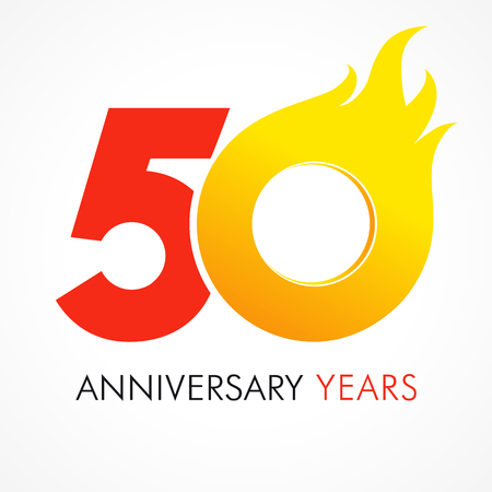 50 years old celebrating fiery logo. Anniversary flamed year of 50 th. Vector template flamy 0 numbers. Happy birthday flaming greetings celebrates. Hot digits of jubilee gold colored ages and flames.