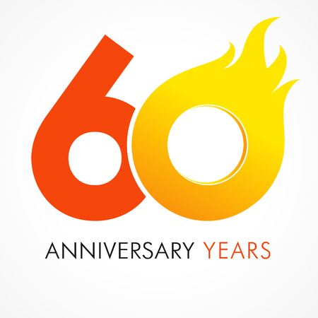60 years old celebrating fiery logo. Anniversary flamed year of 60 th. Vector template flamy 0 numbers. Happy birthday flaming greetings celebrates. Hot digits of jubilee gold colored ages and flames. Illustration