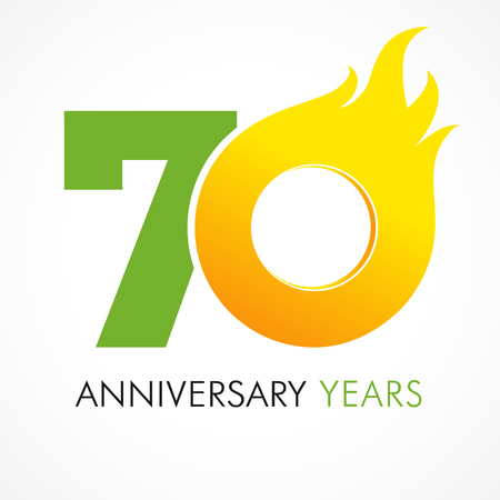 70 years old celebrating fiery logo. Anniversary flamed year of 70 th. Vector template flamy 0 numbers. Happy birthday flaming greetings celebrates. Hot digits of jubilee gold colored ages and flames.