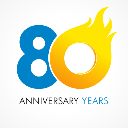 80th: 80 years old celebrating fiery logo. Anniversary flamed year of 80 th. Vector template flamy 0 numbers. Illustration