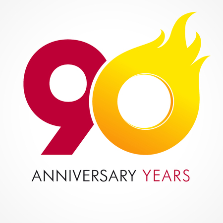 90 years old celebrating fiery logo. Anniversary flamed year of 90 th. Vector template flamy 0 numbers. Happy birthday flaming greetings celebrates. Hot digits of jubilee gold colored ages and flames.