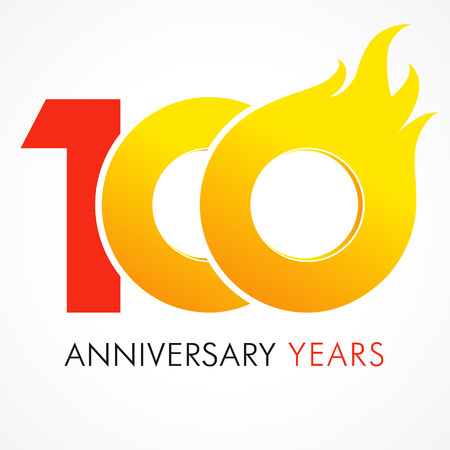 100 years old celebrating fiery logo. Anniversary flamed year of 100 th. Vector template flamy numbers. Happy birthday flaming greetings celebrates. Hot digits of jubilee gold colored ages and flames.