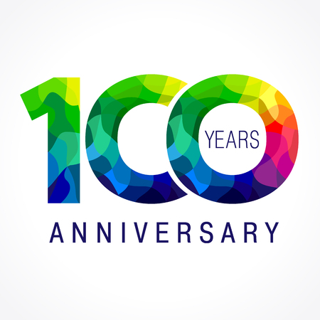 100 years old celebrating. Anniversary year of 100 th vector template numbers. Happy birthday greetings celebrates. Stained-glass digits of jubilee ages. Mosaic pattern figures in various colors.