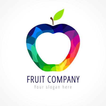 Logo de vector de la compañía de la fruta. Piezas de vidrio coloreado manzana. Plantilla de identidad de marca. Signo de comida sana. Foto de archivo - 77445309