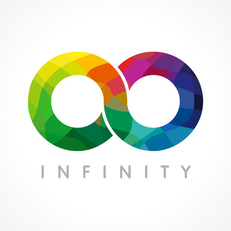 reliable: Infinity colored logo. Stained-glass graphics. Illustration