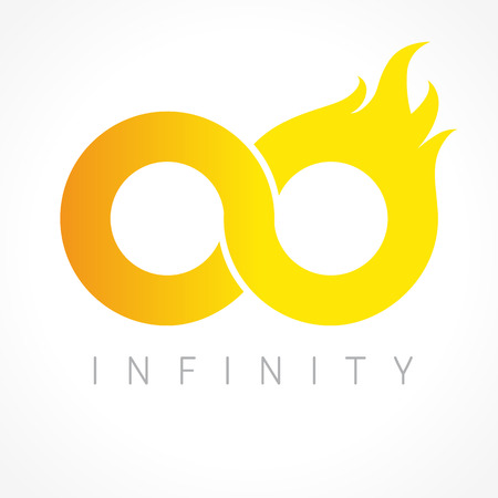 permanence: Infinity fiery logo. Flamy graphics infinite vector template brand sign. Infinit flamed gold colored symbol of constancy or number 0. Creative, flaming, bright eyeglasses shape.