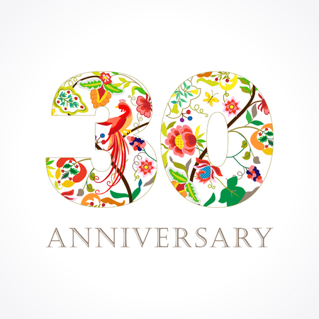 30 years old. Template colored 30 th happy anniversary greetings, ethnics flowers, plants, paradise birds. Set of traditional vintage colorful congratulations of love. Çizim