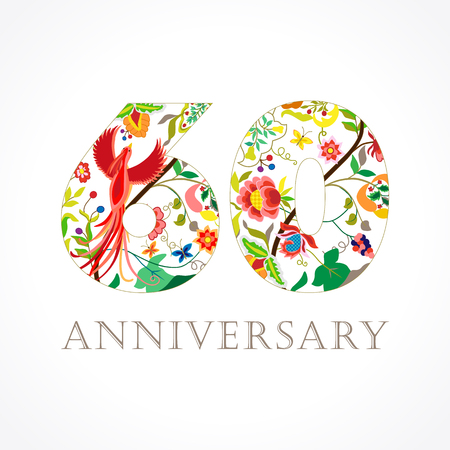 60 years old luxurious celebrating. Template colored happy anniversary greetings, ethnics flowers, plants, paradise flying birds.