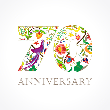 70 years old. Template colored happy anniversary greetings, ethnics flowers, plants, paradise flying birds. Set of traditional vintage style colorful congratulations.