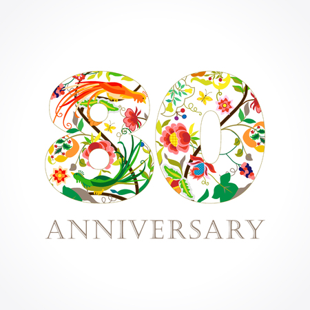 80 years old. Template colored 80 th happy anniversary greetings, ethnics flowers, plants, paradise birds.