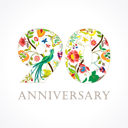 90 years old. Template colored 90 th happy anniversary greetings, ethnics flowers, plants, paradise birds.