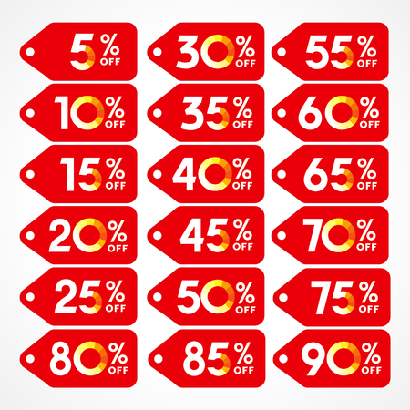 85 90: Set of vector discounts. Price lists labels, red logos with die cutting. 5th, 10th, 15th, 20th, 25th, 30th, 35th, 40th, 45th, 50th, 55th, 60th, 65th, 70th, 75th, 80th, 85th, 90th, 95th% off.