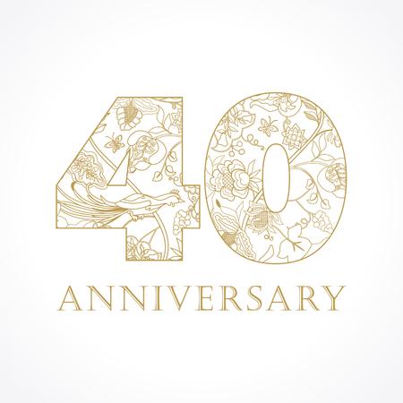 40 jaar oud. Sjabloon goudkleurige 40ste verjaardagsgroeten, ethnics bloemen, planten, paradijsvogels. Set van traditionele vintage kleurrijke felicitatie.