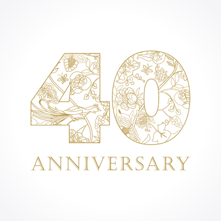 40 years old. Template gold colored 40 th happy anniversary greetings, ethnics flowers, plants, paradise birds. Set of traditional vintage colorful congratulation. Illustration