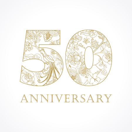 50 years old luxurious celebrating folk numbers. Template gold 50 th happy anniversary greetings, ethnics flowers, plants, paradise birds. Set of traditional vintage congratulation.