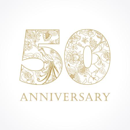 50 lat luksusowych obchodów liczb ludowych. Szablon złoty 50. życzenia z okazji rocznicy, kwiaty etnograficzne, rośliny, ptaki rajskie. Set tradycyjna rocznik gratulacje.