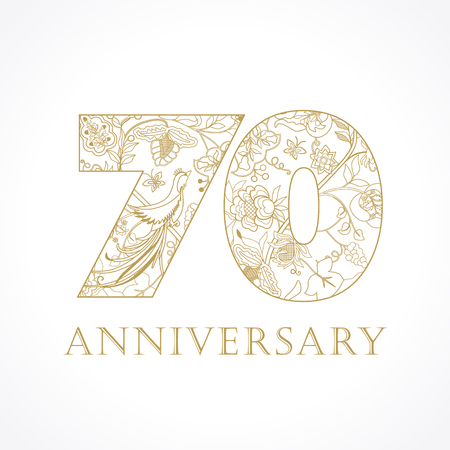 70 years old luxurious celebrating folk numbers. Template gold colored 70 th Anniversary greetings, ethnics flowers, plants, paradise birds. Set of traditional vintage congratulation.