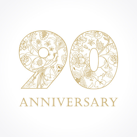 90th: 90 years old luxurious celebrating folk numbers. Template gold 90 th happy anniversary greetings, ethnics flowers, plants, paradise birds. Set of traditional vintage congratulation.