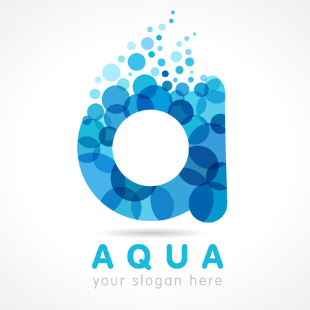 Aqua A water drop logo. Mineral natural water vector icon design. Logo of tourism, resort or hotel by the sea in letter A bubbles Ilustração