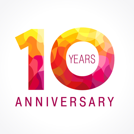 10 years old celebrating fiery logo. Anniversary flamed year of 10 th. Vector template flamy 0 numbers. Happy birthday flaming greetings celebrates. Stained-glass digits and flames. Mosaic figures.