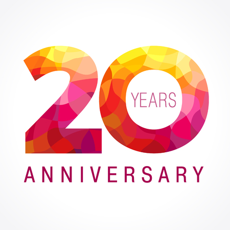 20 years old celebrating fiery logo. Anniversary flamed year of 20 th. Vector template flamy 0 numbers. Happy birthday flaming greetings celebrates. Stained-glass digits and flames. Mosaic figures. Illustration