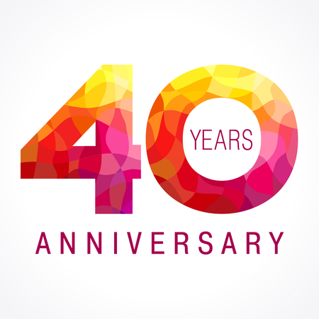 40 years old celebrating fiery logo. Anniversary flamed year of 40 th. Vector congrats flamy 0 numbers. Flaming greetings celebrates with volume. Stained-glass digits and flames. Mosaic figures.