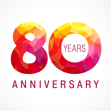 eight year old: 80 years old celebrating fiery logo. Anniversary flamed year of 80th.