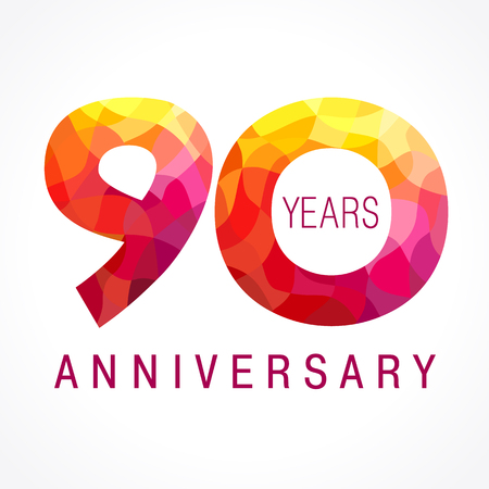90th: 90 years old celebrating fiery logo. Anniversary flamed year of 90th. Illustration