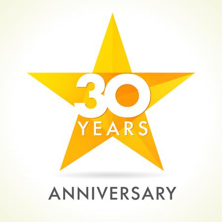 30 歳星ロゴを祝います。30 周年記念号ベクトルおめでとう色番号。受賞の挨拶を迎えます。ステンド グラス カラフルな星の形です。モザイク金色の