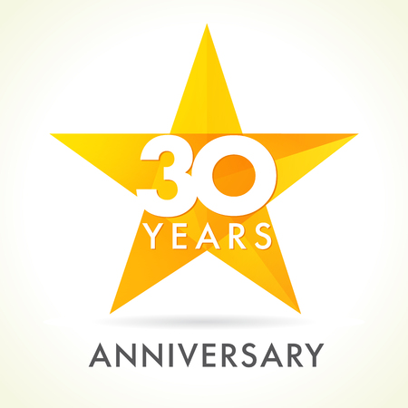 30 years old celebrating star logo. 30 th anniversary vector congrats color numbers. Greetings celebrates of winner. Stained-glass colorful stars shape. Mosaic gold colored template, best offer sign.