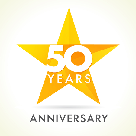 50 years old celebrating star logo. 50 th anniversary vector congrats color numbers. Greetings celebrates of winner. Stained-glass colorful stars shape. Mosaic gold colored template, best offer sign.