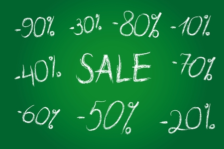 40: Discount prices vector illustration. Set of white chalk numbers, templates for seasonal trading, sale labels. 10th, 20th, 30th, 40th, 50th, 60th, 70th, 80th, 90th% or years. Illustration