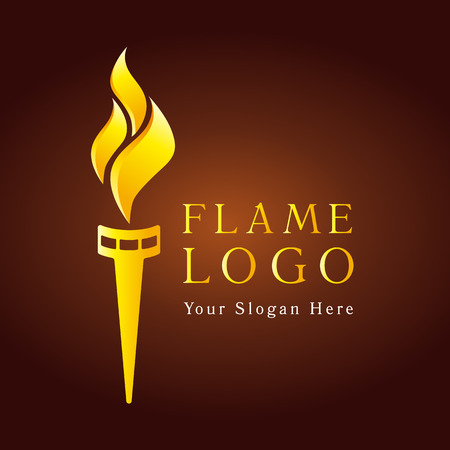 Flaming torch logo. Sport fire gold colored sign. Competitions, union, club or confederacy icon with flames. Illustration