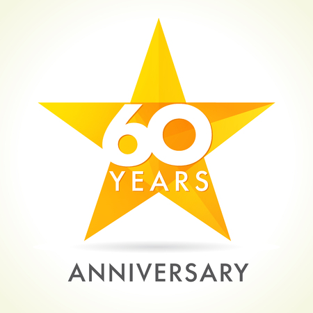 60 years old celebrating star logo. 60 th anniversary vector congrats color numbers. Greetings celebrates of winner. Stained-glass colorful stars shape. Mosaic gold colored template, best offer sign.