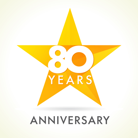 80th: 80 years old celebrating star logo. 80 th anniversary vector congrats color numbers. Greetings celebrates of winner. Stained-glass colorful stars shape. Mosaic gold colored template, best offer sign.