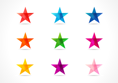 award winning: Set of stained-glass colored celebrating stars. Shining mosaic decorative star icons in various colors. Red, blue, orange, pink, violet, purple, yellow, golden star. Bright greetings collection and shade.