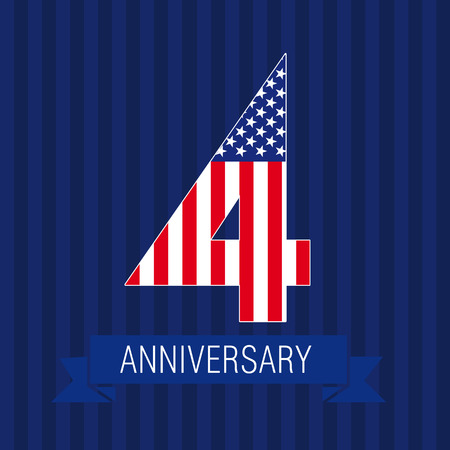 Anniversary 4 US flag logo. Template of celebrating icon of 4 th place as American flag. USA numbers in traditional style on striped abstract blue background. United States figure four. Çizim