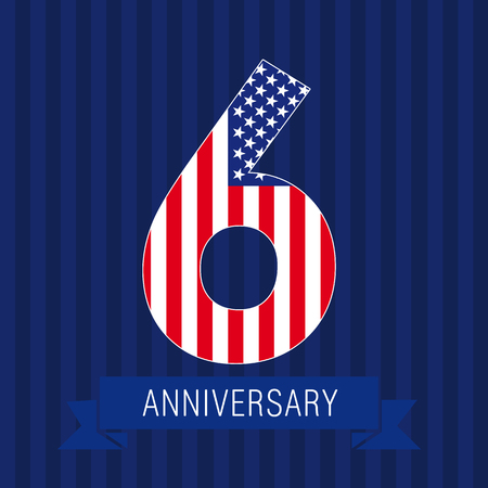 Anniversary 6 US flag logo. Template of celebrating icon of 6th place as American flag. USA numbers in traditional style on striped abstract blue background. United States figure six.