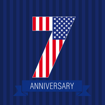 Anniversary 7 US flag logo. Template of celebrating icon of 7th place as American flag.