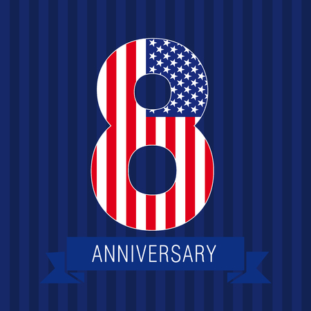 Anniversary 8 US flag logo. Template of celebrating icon of 8th place as American flag. USA numbers in traditional style on striped abstract blue background. United States figure eight.