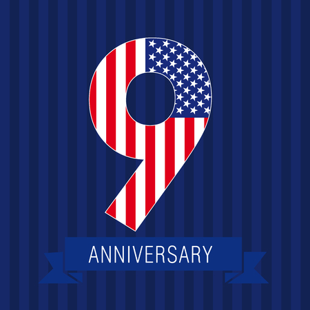 9th: Anniversary 9 US flag logo. Template of celebrating icon of 9th place as American flag. USA numbers in traditional style on striped abstract blue background. United States.